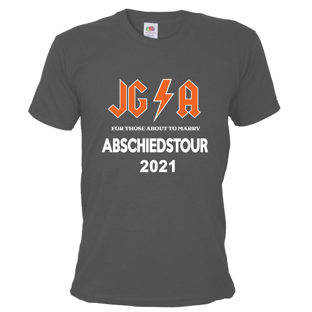 Graues Männer JGA-Shirt mit Hard Rock Abschiedstour-Motiv