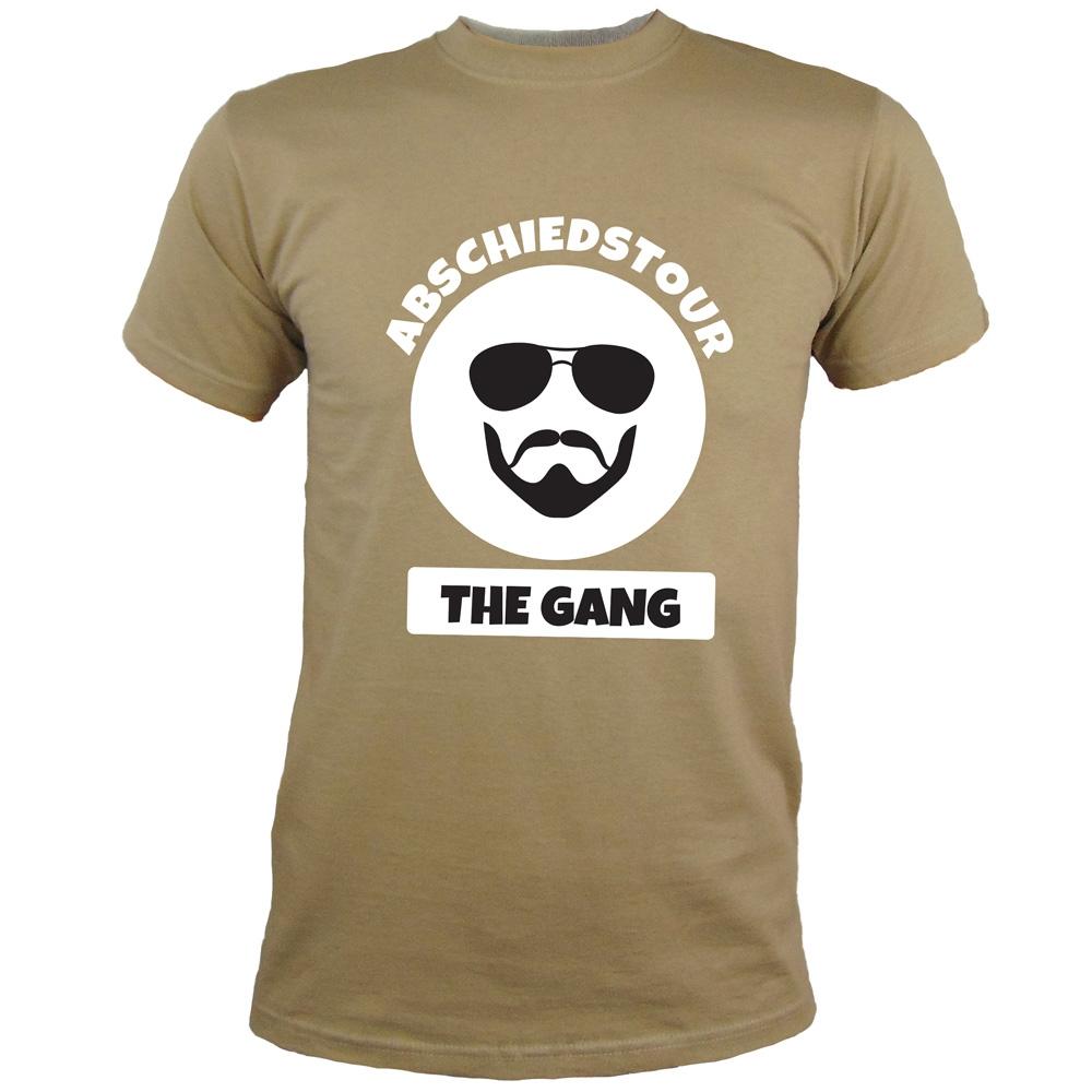 Khakifarbenes JGA Abschiedstour-Shirt mit Gangster-Motiv
