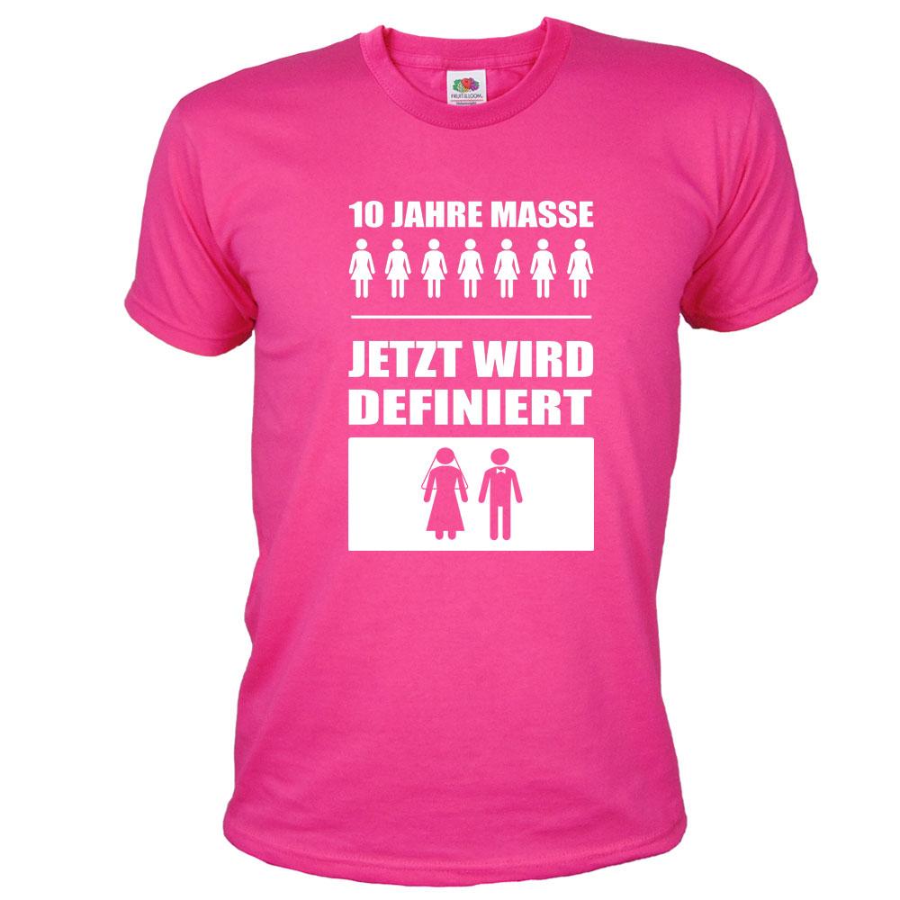 JGA Maenner-Shirt fuer Bodybuilder - 10 Jahre Masse - Pink