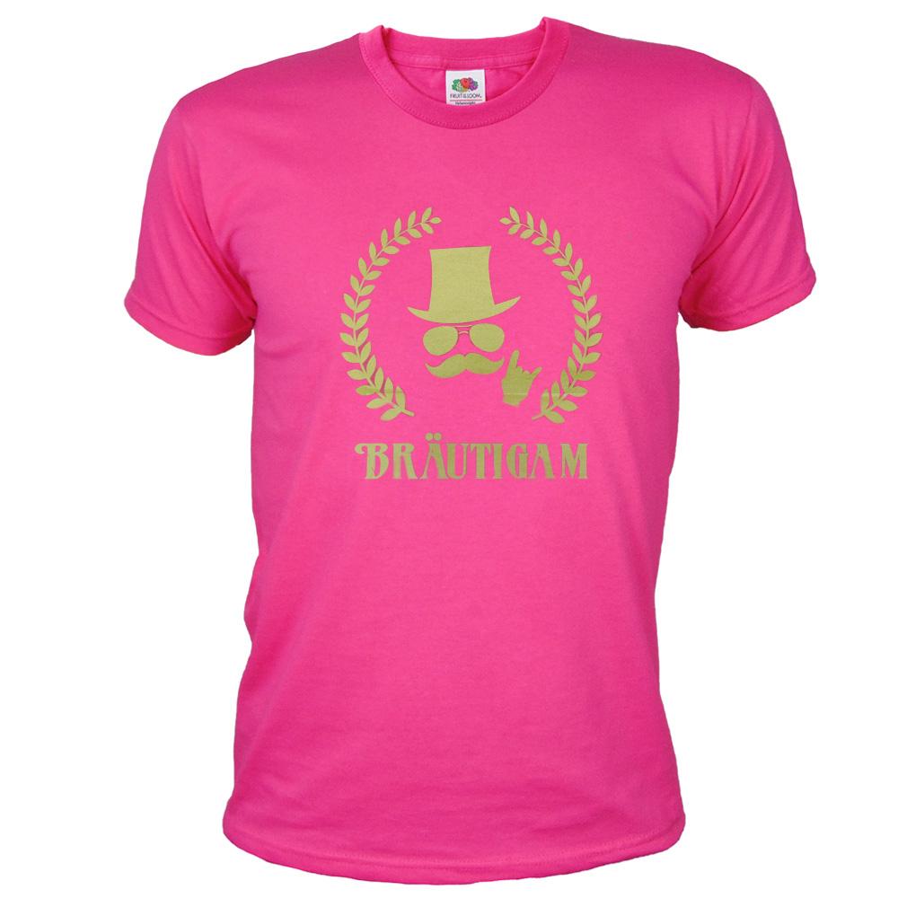 Pinkfarbenes Braeutigam JGA T-Shirt mit Gold-Aufdruck