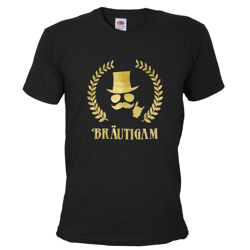 Schwarzes Braeutigam JGA T-Shirt mit Gold-Aufdruck