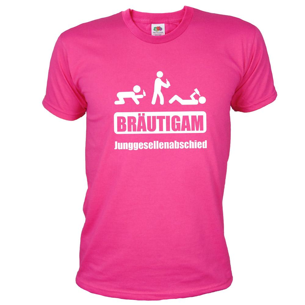 Pinkes Bräutigam T-Shirt mit Saufschild-Aufdruck