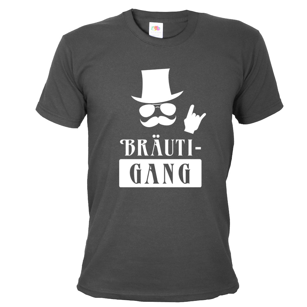 Graues JGA Herren-Shirt mit Bräuti-Gang Aufdruck
