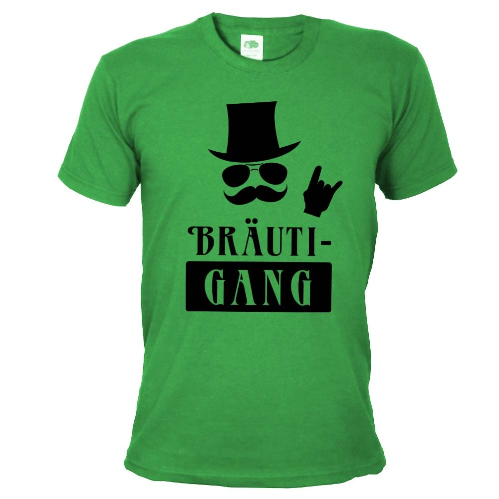Grünes JGA Herren-Shirt mit Bräuti-Gang Aufdruck
