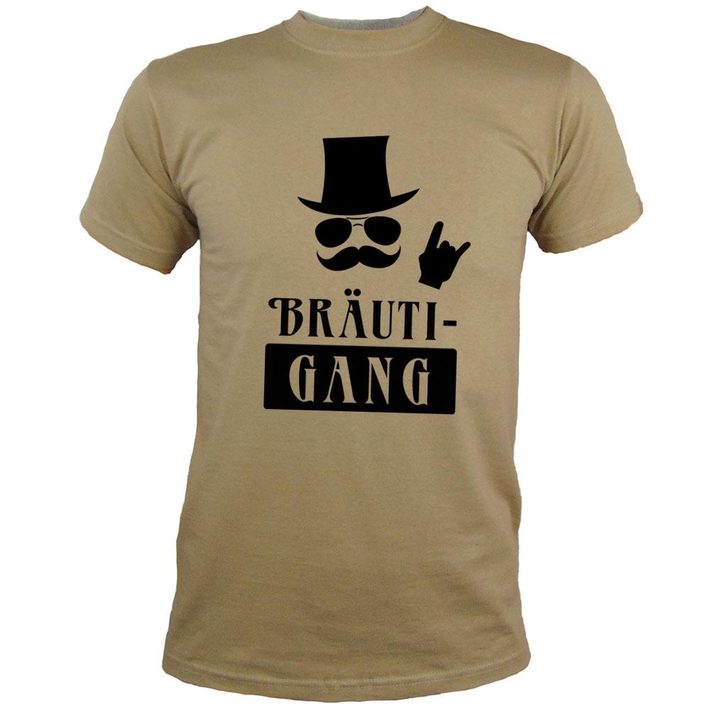 Khakifarbenes JGA Herren-Shirt mit Bräuti-Gang Aufdruck