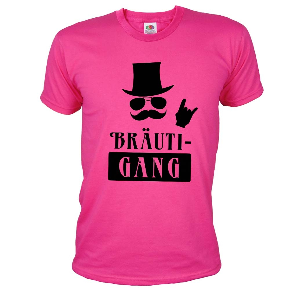 Pinkfarbenes JGA Herren-Shirt mit Braeuti-Gang Aufdruck