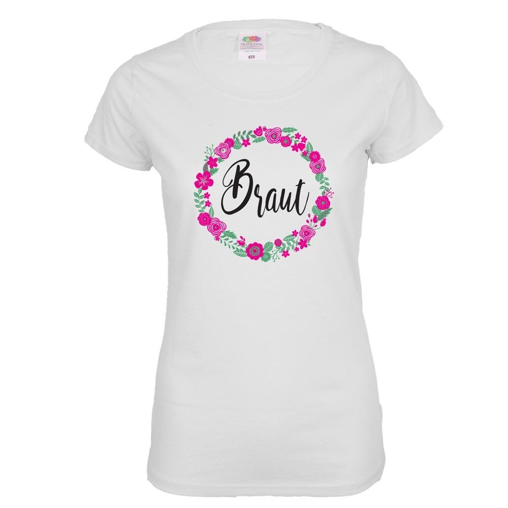 Weisses JGA-Shirt mit Braut-Schriftzug und Blumen-Motiv
