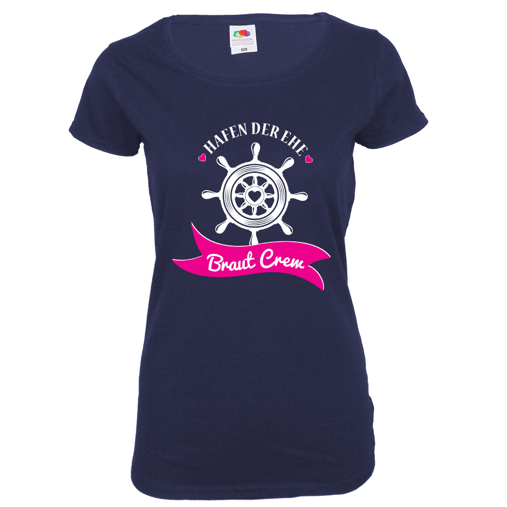 Blaues Damen JGA-Shirt mit Braut Crew Aufdruck