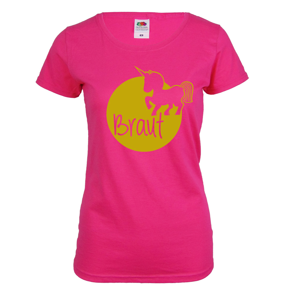 JGA T-Shirt Braut mit  Einhorn - Pink