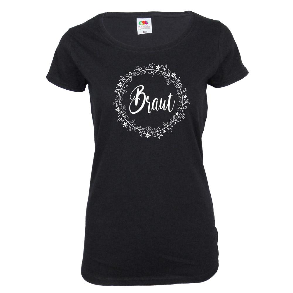 Schwarzes JGA Braut-Shirt mit Blumen-Motiv