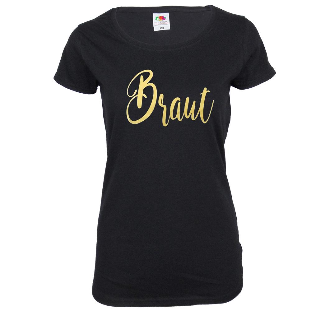 Schwarzes JGA Damen-Shirt mit goldfarbenem Braut-Aufdruck