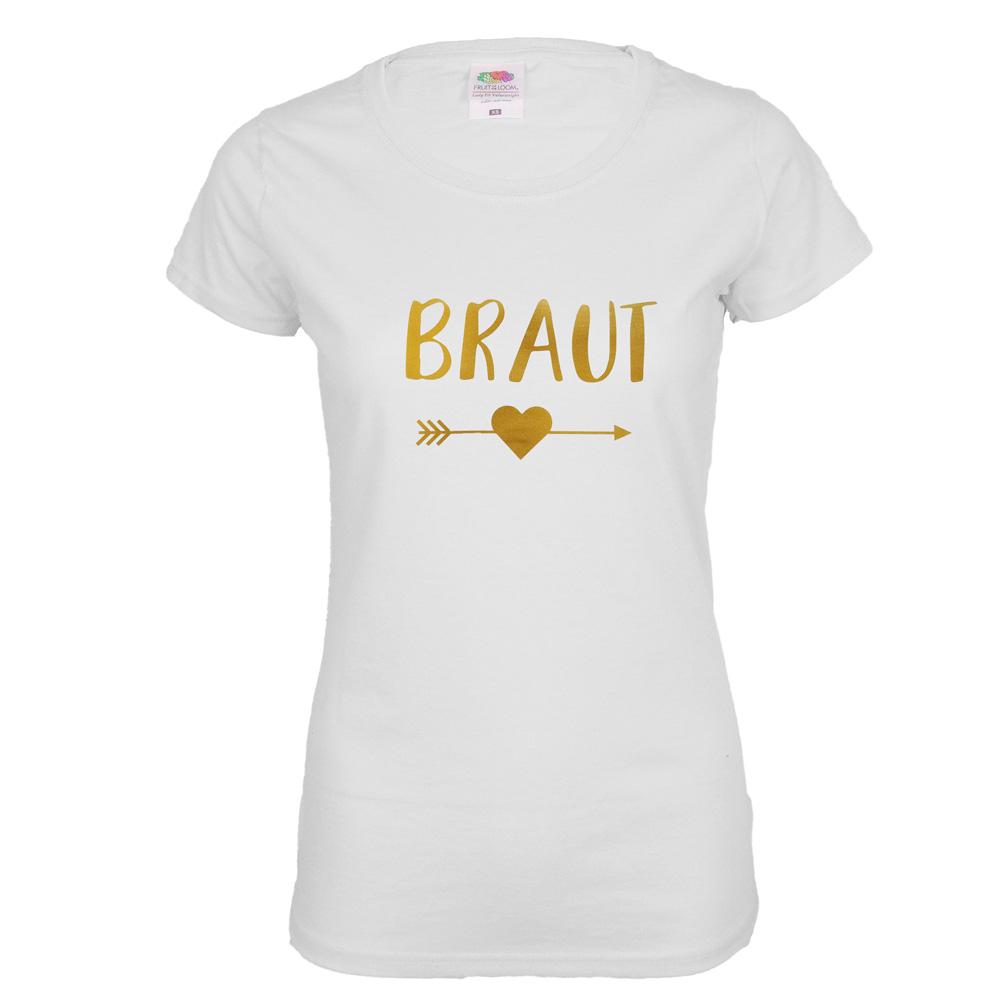 Weisses Braut JGA-Shirt mit goldfarbenem Herz und Pfeil-Aufdruck