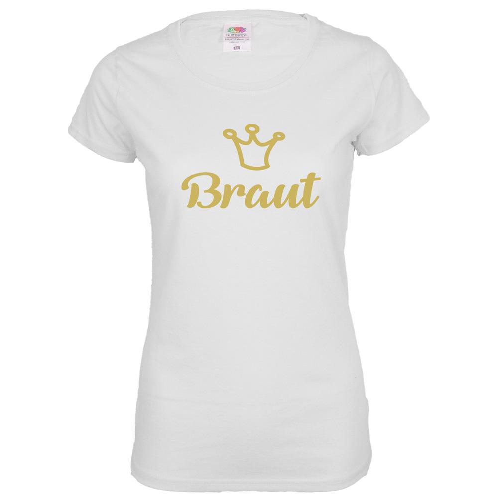 Weißes JGA Braut T-Shirt mit goldfarbener Schrift