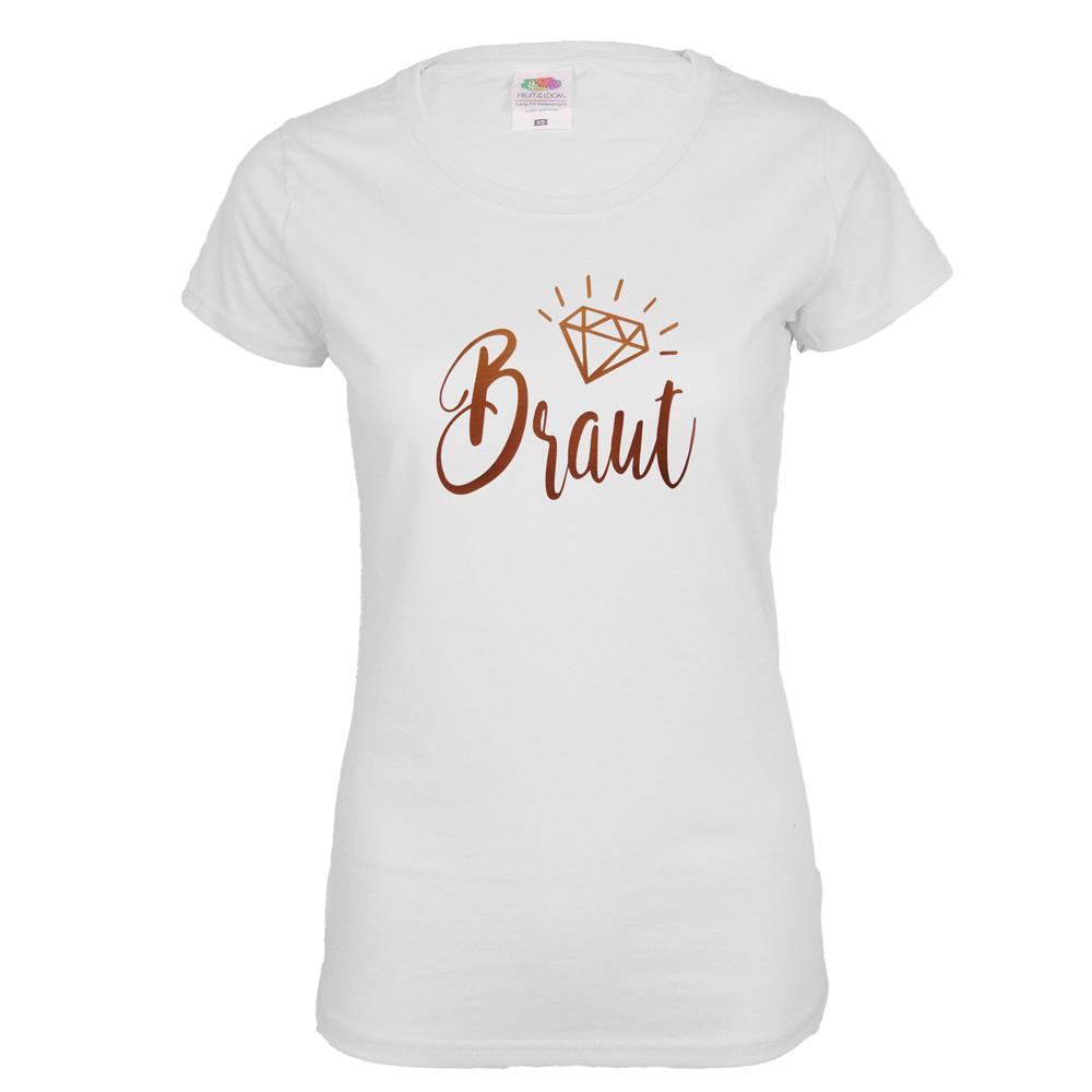 Weisses JGA-Shirt mit Braut-Schriftzug in Kupfer