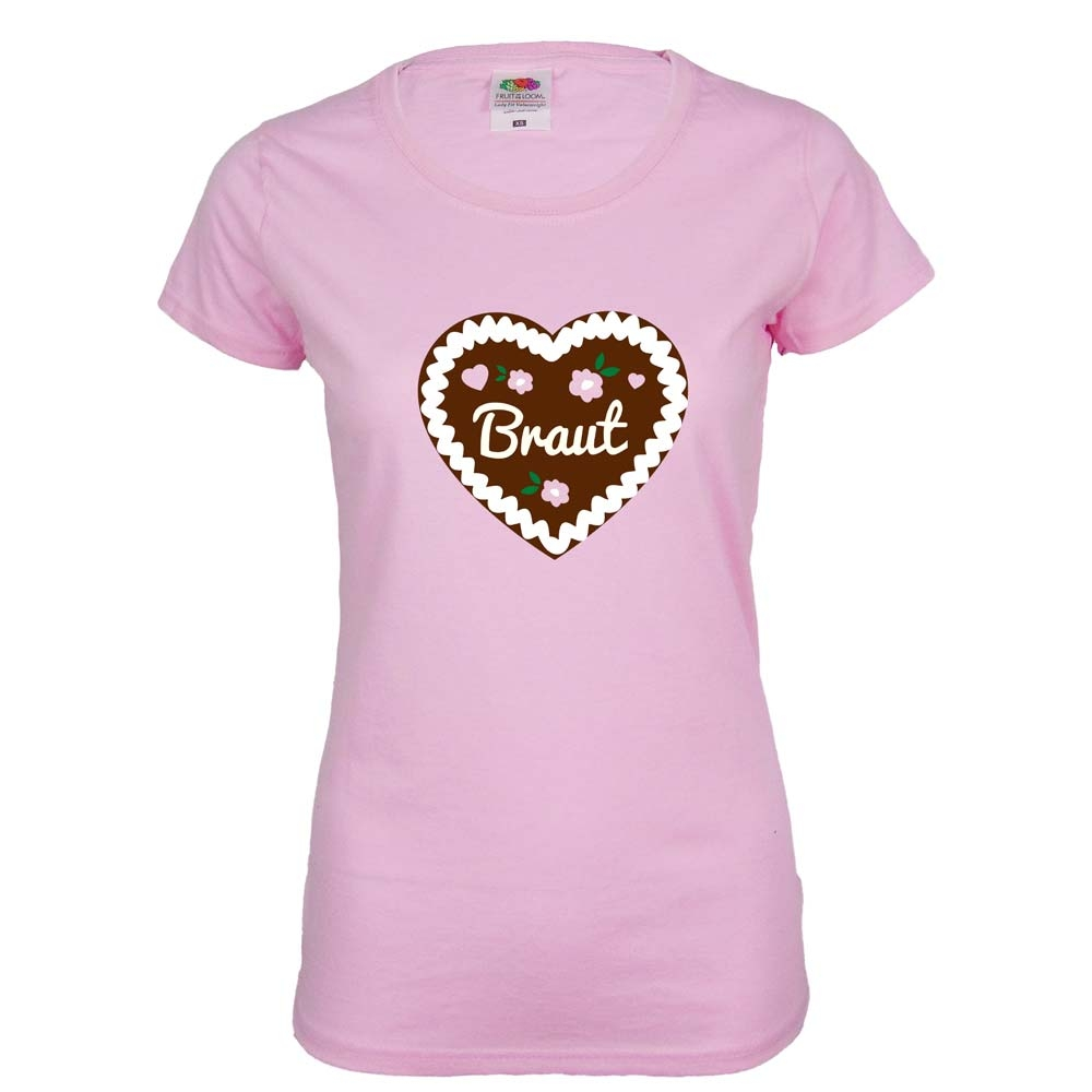 Rosafarbenes JGA Braut T-Shirt mit Lebkuchenherz