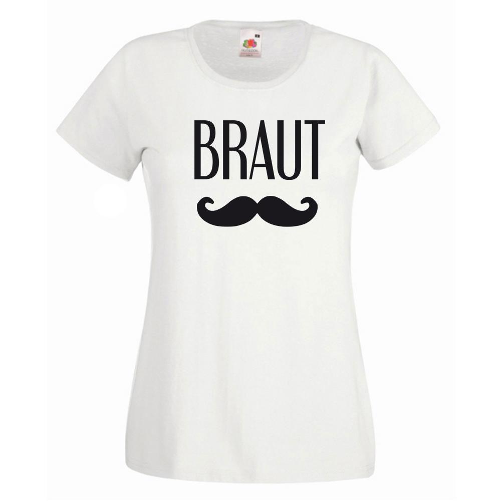 Weißes Braut-T-Shirt mit Schnurrbart-Motiv