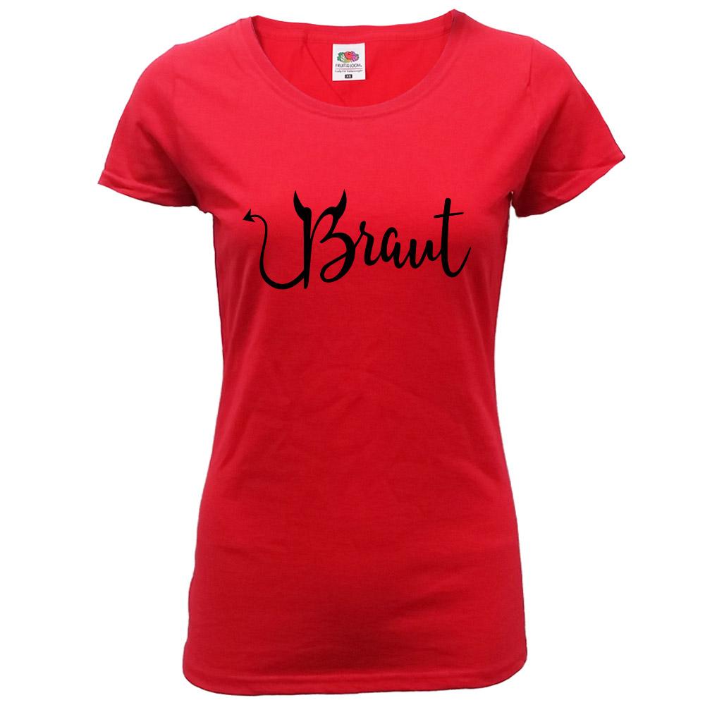 Rotes JGA T-Shirt mit Braut Teufel-Motiv