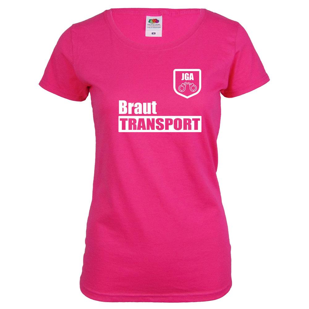 Pinkfarbenes JGA T-Shirt mit Braut Transport-Aufdruck