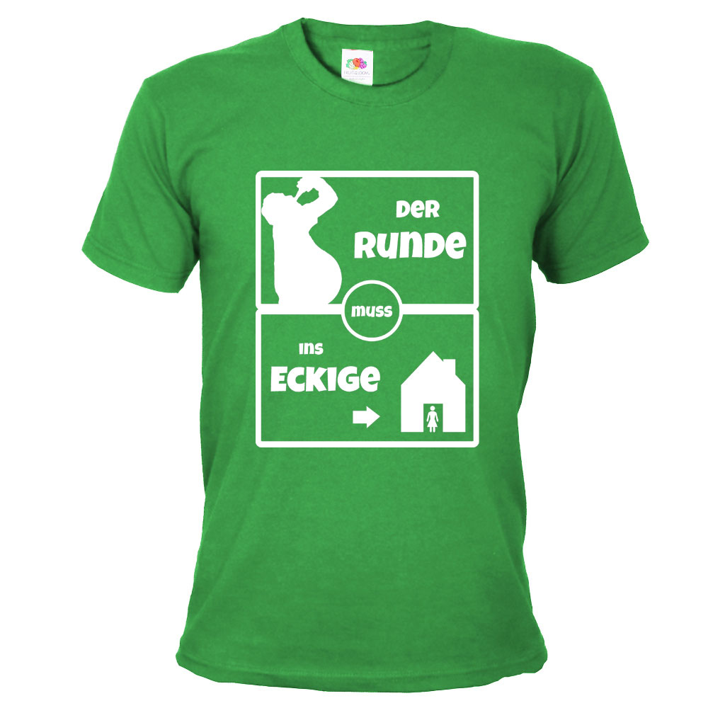 Grünes JGA Fußball-Shirt - Der Runde muss ins Eckige-Aufdruck