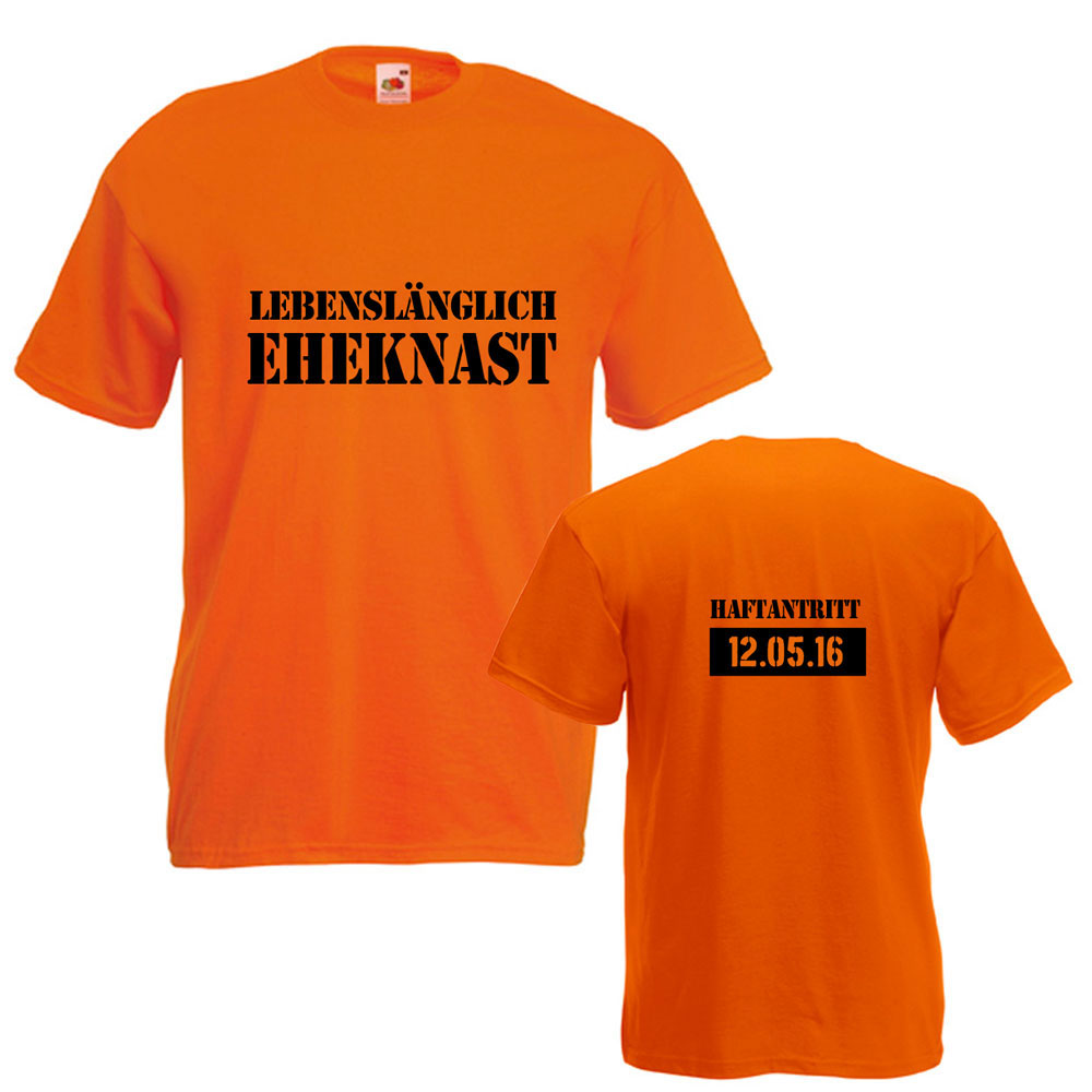 Orangefarbenes Herren-JGA-Shirt mit Eheknast-Schriftzug