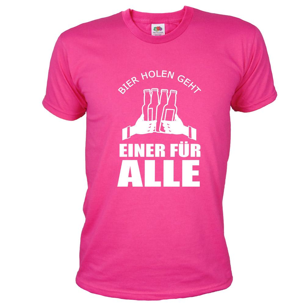 Pinkfarbenes Bräutigam JGA-Shirt mit Einer für Alle-Motiv