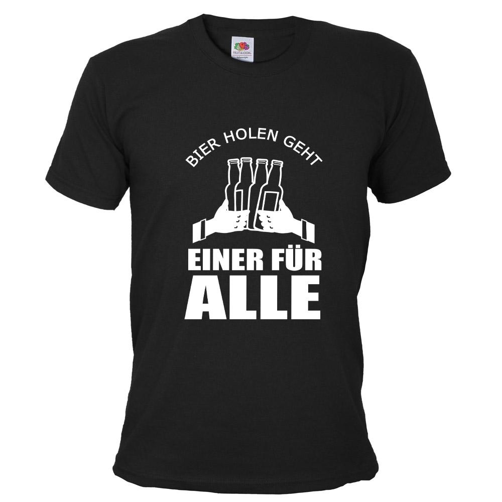 Schwarzes Bräutigam JGA-Shirt mit Einer für Alle-Motiv