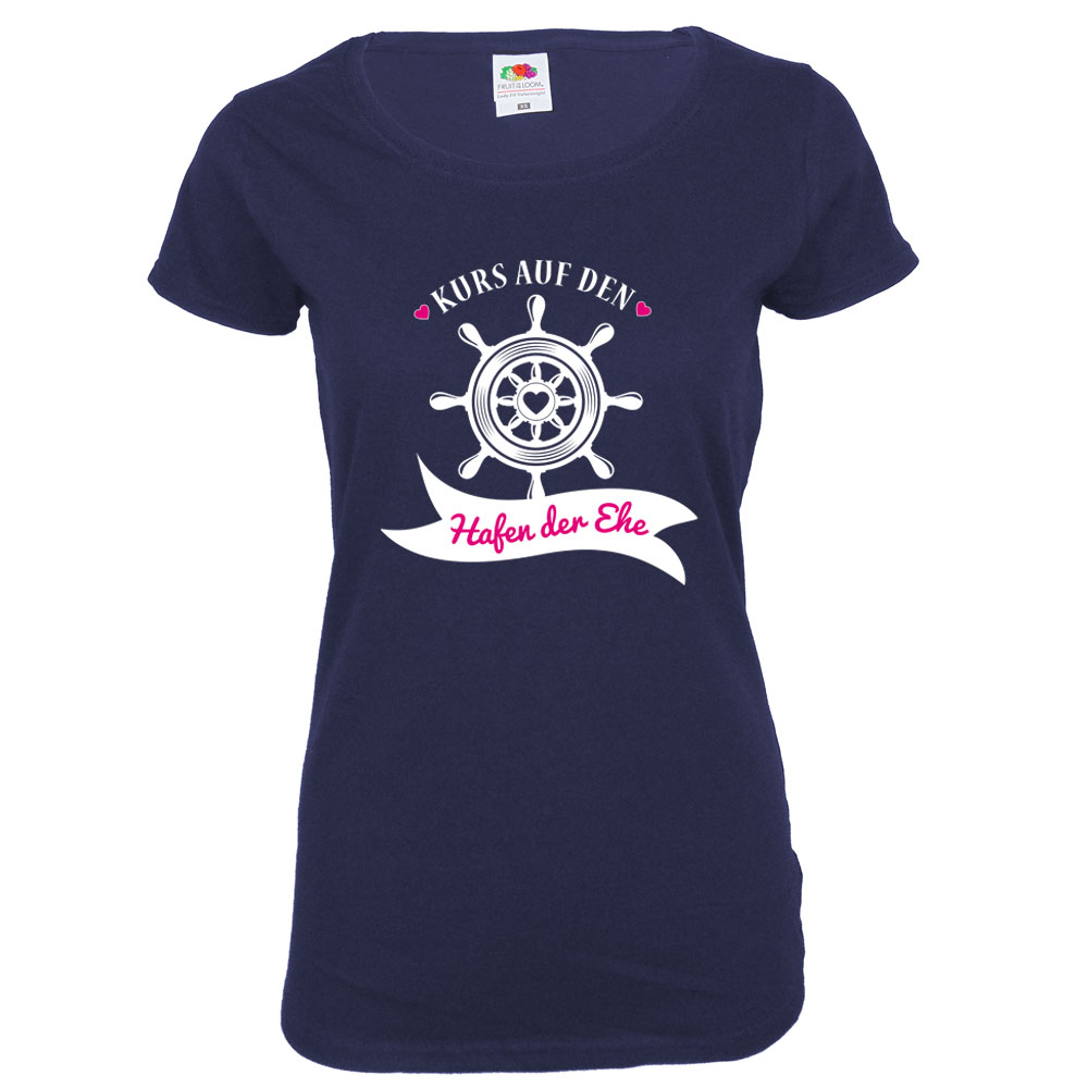 Blaues JGA Damen-Shirt mit Hafen der Ehe-Aufdruck