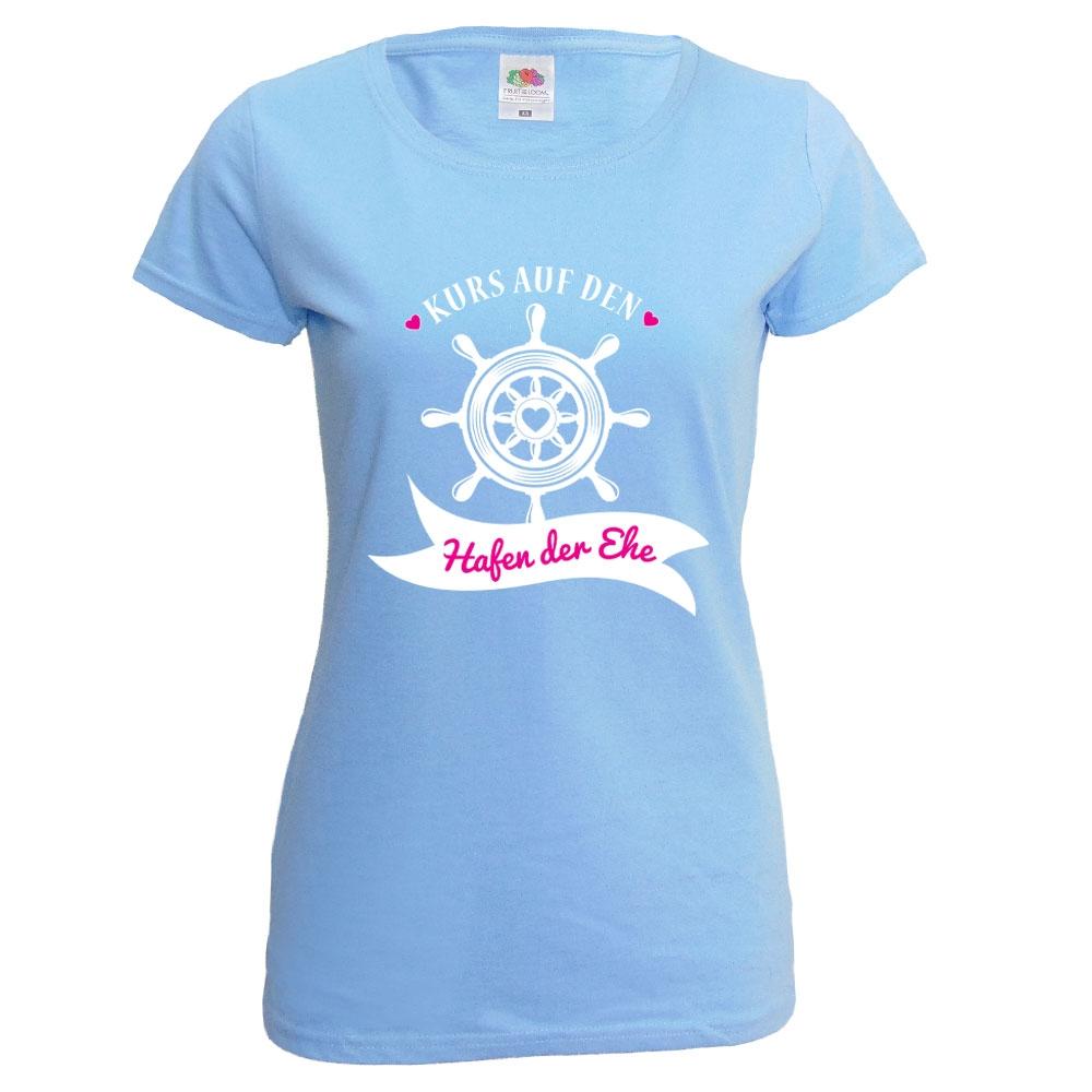 Hellblaues JGA Damen-Shirt mit Hafen der Ehe-Aufdruck