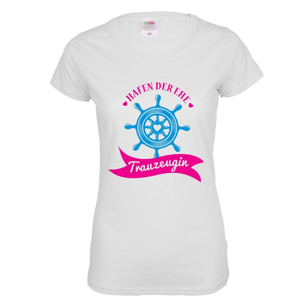 Weißes JGA Trauzeugin-Shirt mit Hafen der Ehe-Aufdruck