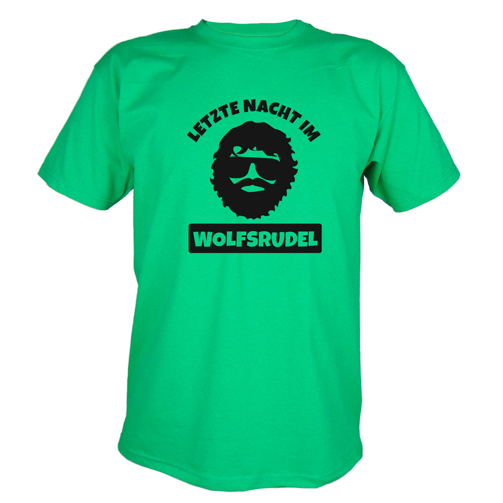 JGA T-Shirt Wolfsrudel mit Alan-Motiv - Hangover - Grün