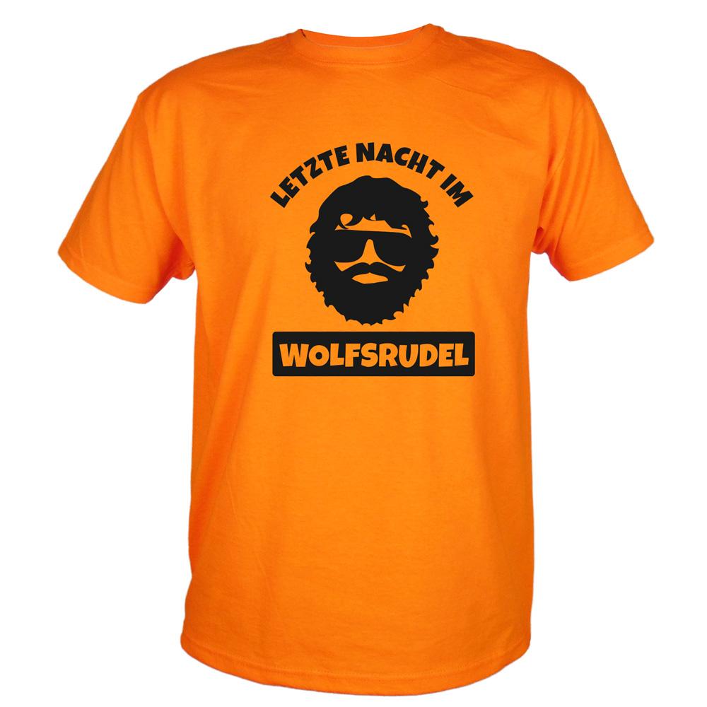JGA T-Shirt Wolfsrudel mit Alan-Motiv - Hangover - Orange