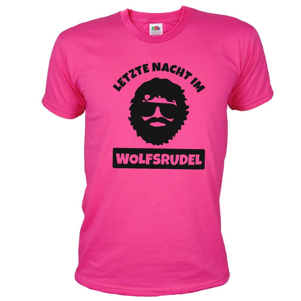JGA T-Shirt Wolfsrudel mit Alan-Motiv - Hangover - Pink