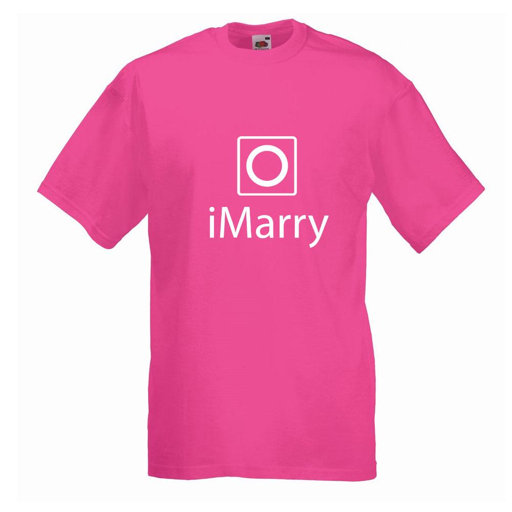 Pinkfarbenes JGA-Männer-Shirt mit iMarry-Motiv