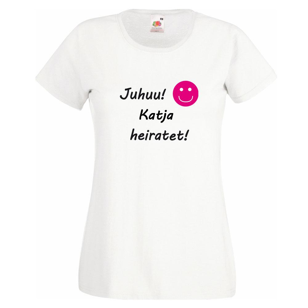 Personalisiertes JGA-Shirt - Juhuu Name heiratet