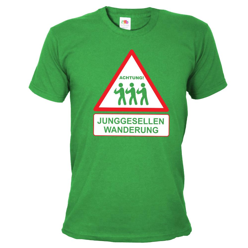 Grünes JGA T-Shirt mit Junggesellen Wanderung-Aufdruck