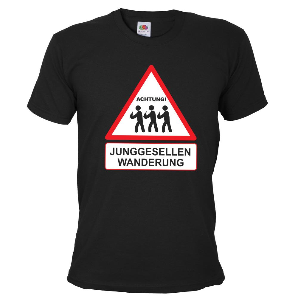 Schwarzes JGA T-Shirt mit Junggesellen Wanderung-Aufdruck