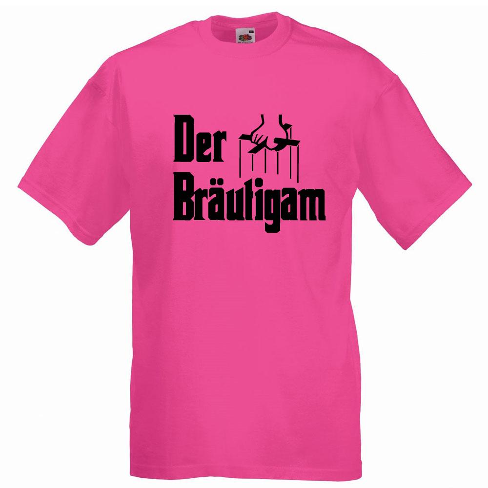 Pinkfarbenes JGA-Shirt für Männer mit Bräutigam-Motiv