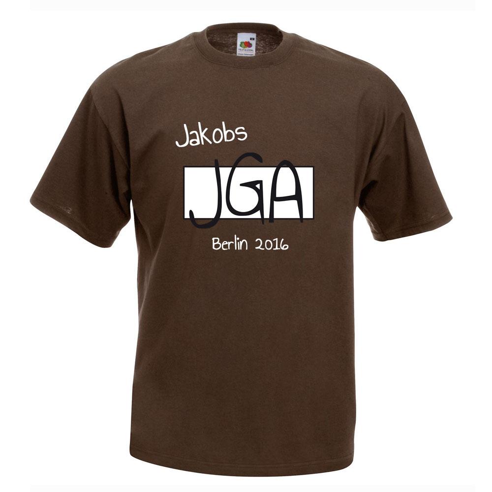 Braunes JGA-Gruppen-Shirt mit Namen des Bräutigams