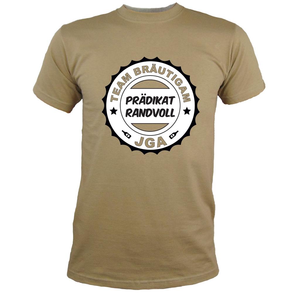 Khakifarbenes Herren JGA-Shirt mit Prädikat Randvoll-Aufdruck