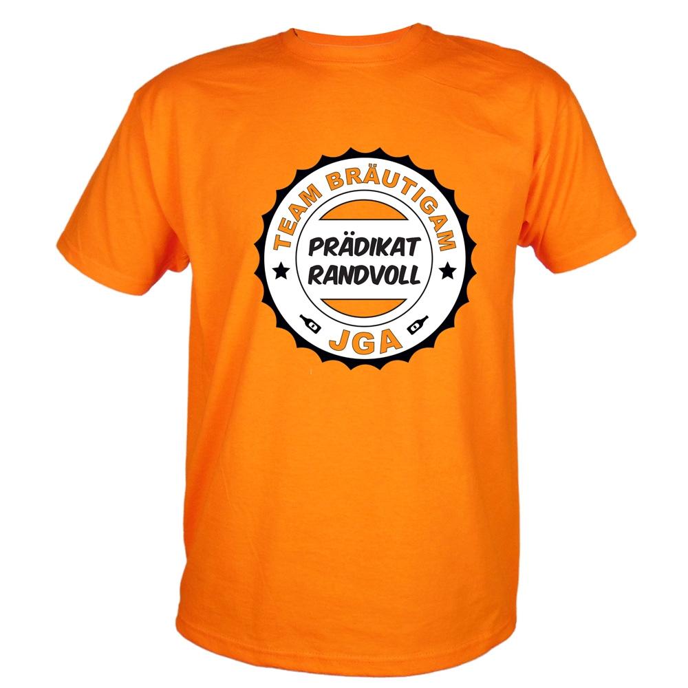 Oranges Herren JGA-Shirt mit Prädikat Randvoll-Aufdruck