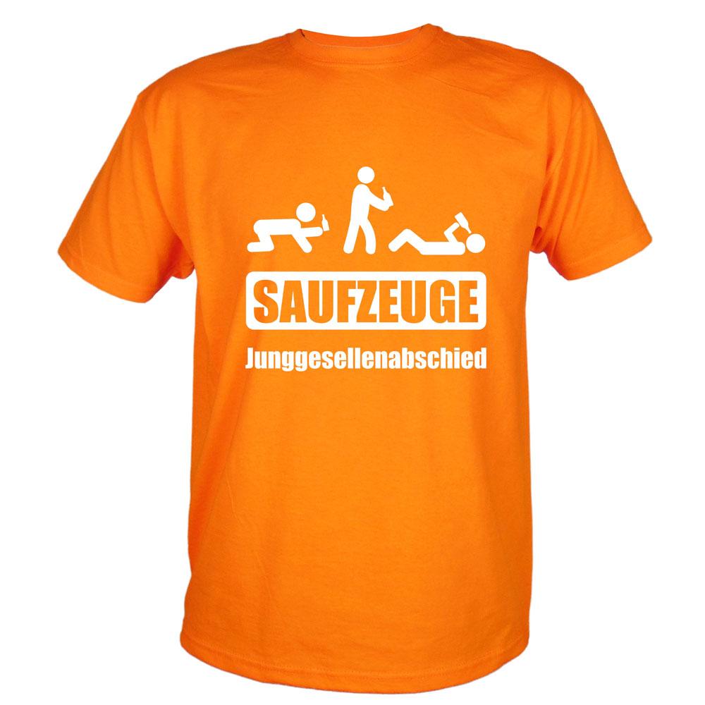 Orange-farbenes JGA-Trauzeugen-Shirt mit Saufzeuge-Motiv