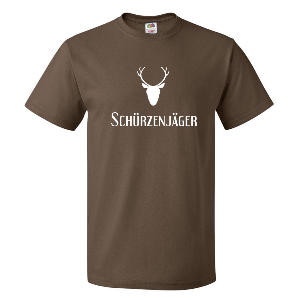 Braunes JGA Gruppen-Shirt mit Schürzenjäger-Motiv