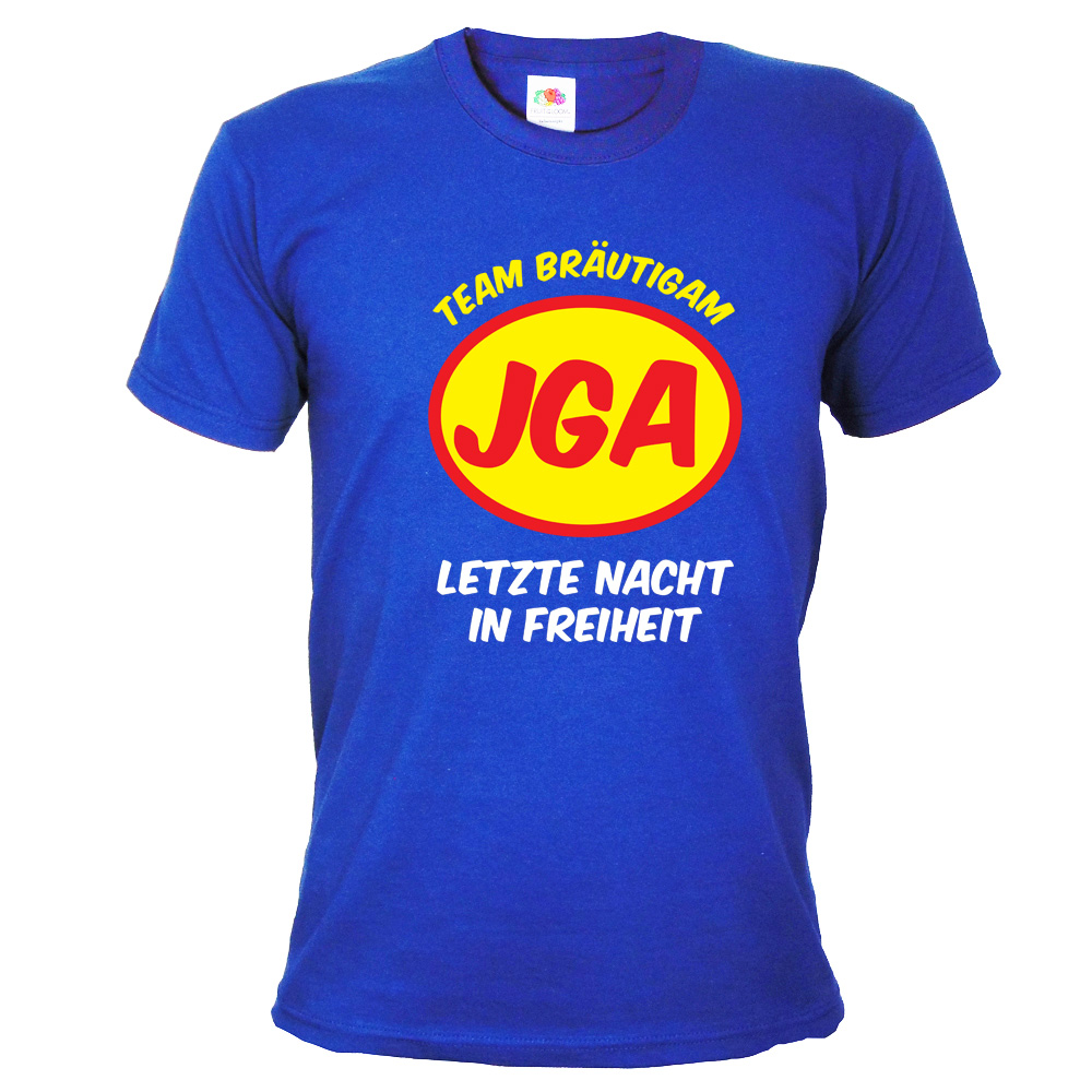 Blaues JGA T-Shirt Team Bräutigam im Superhelden-Stil