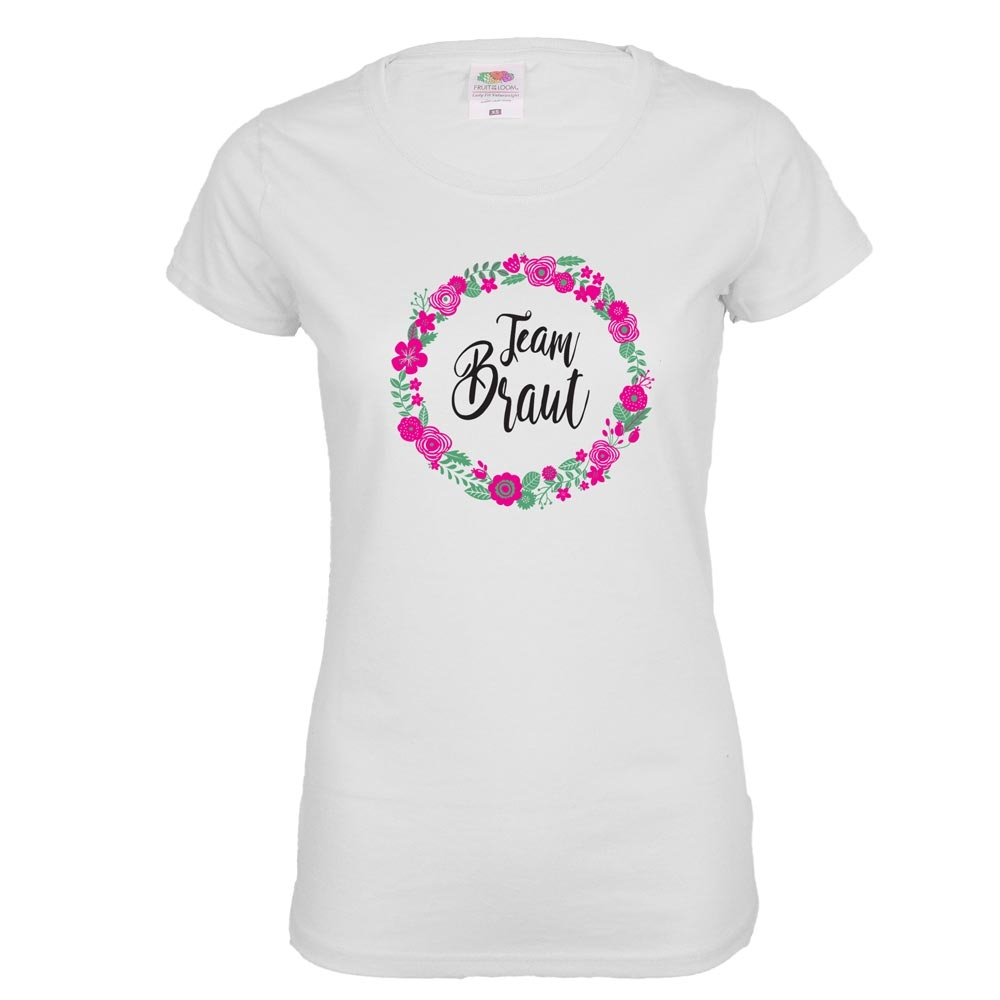Weißes JGA T-Shirt mit Team Braut und Blumen-Aufdruck
