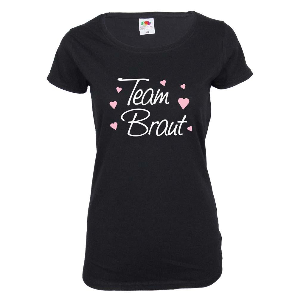 Schwarzes Team Braut T-Shirt mit Herzen
