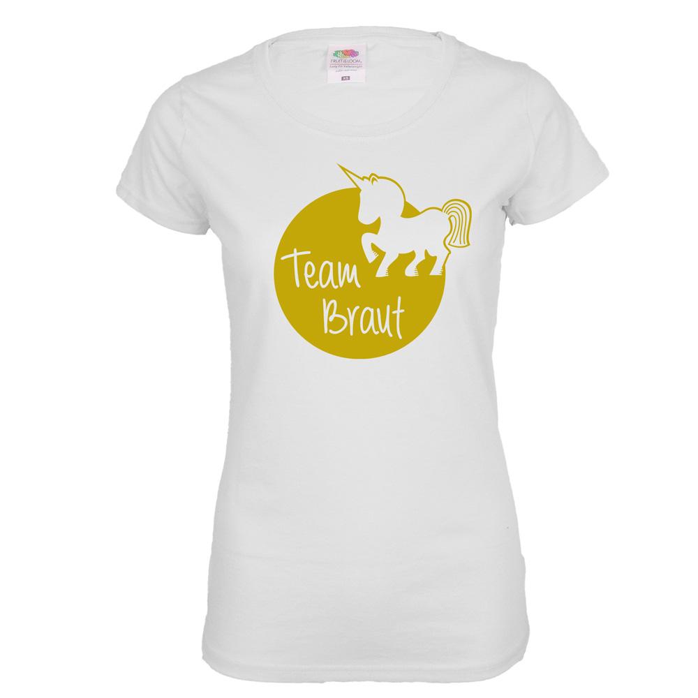 Junggesellinnenabschied T-Shirt Team Braut mit Einhorn - Weiss
