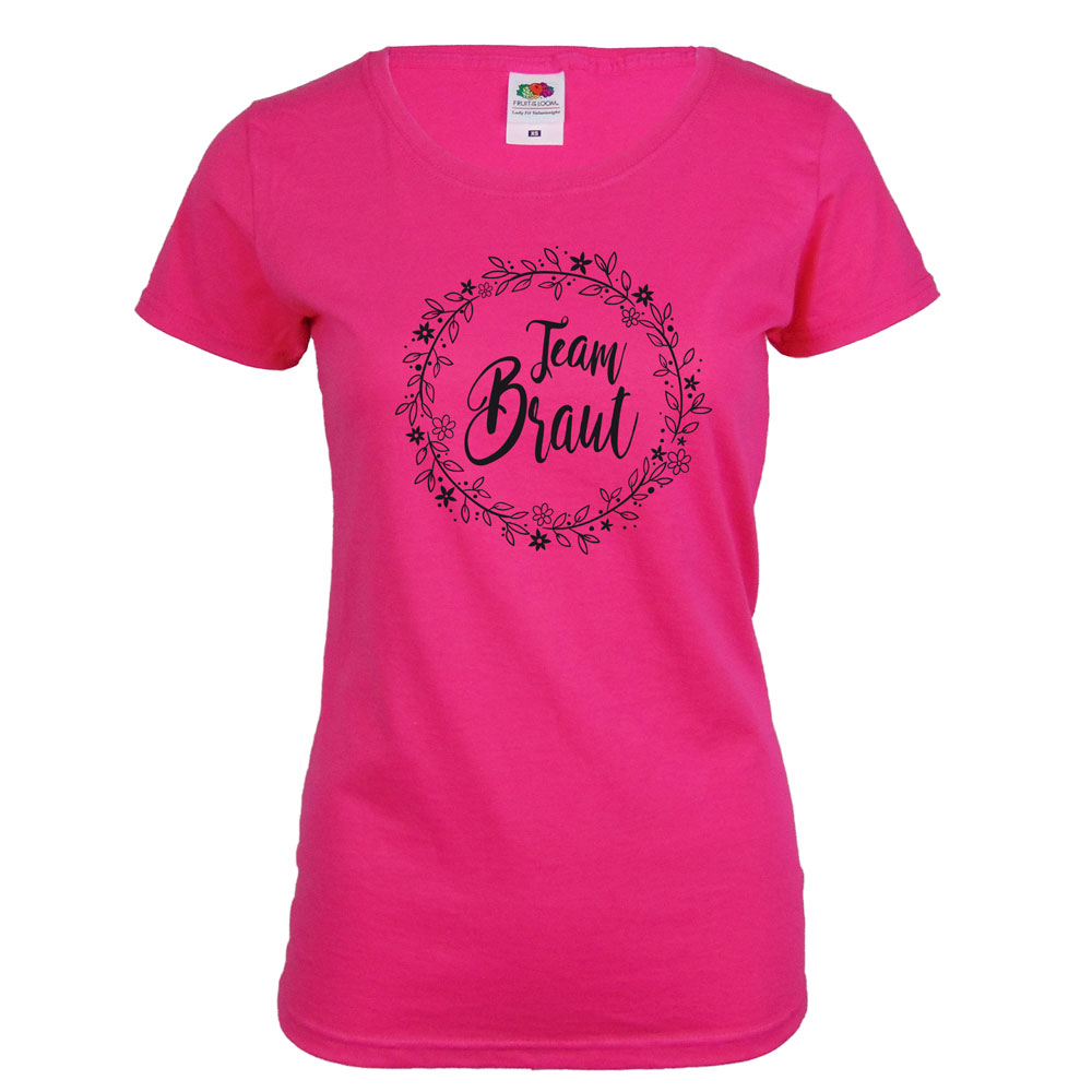 Team Braut JGA-Shirt mit Blumen in Pink