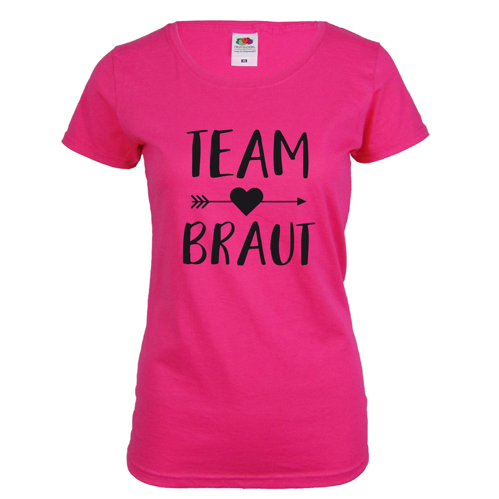 Pinkfarbenes Team Braut JGA-Shirt mit schwarzem Herz und Pfeil-Aufdruck