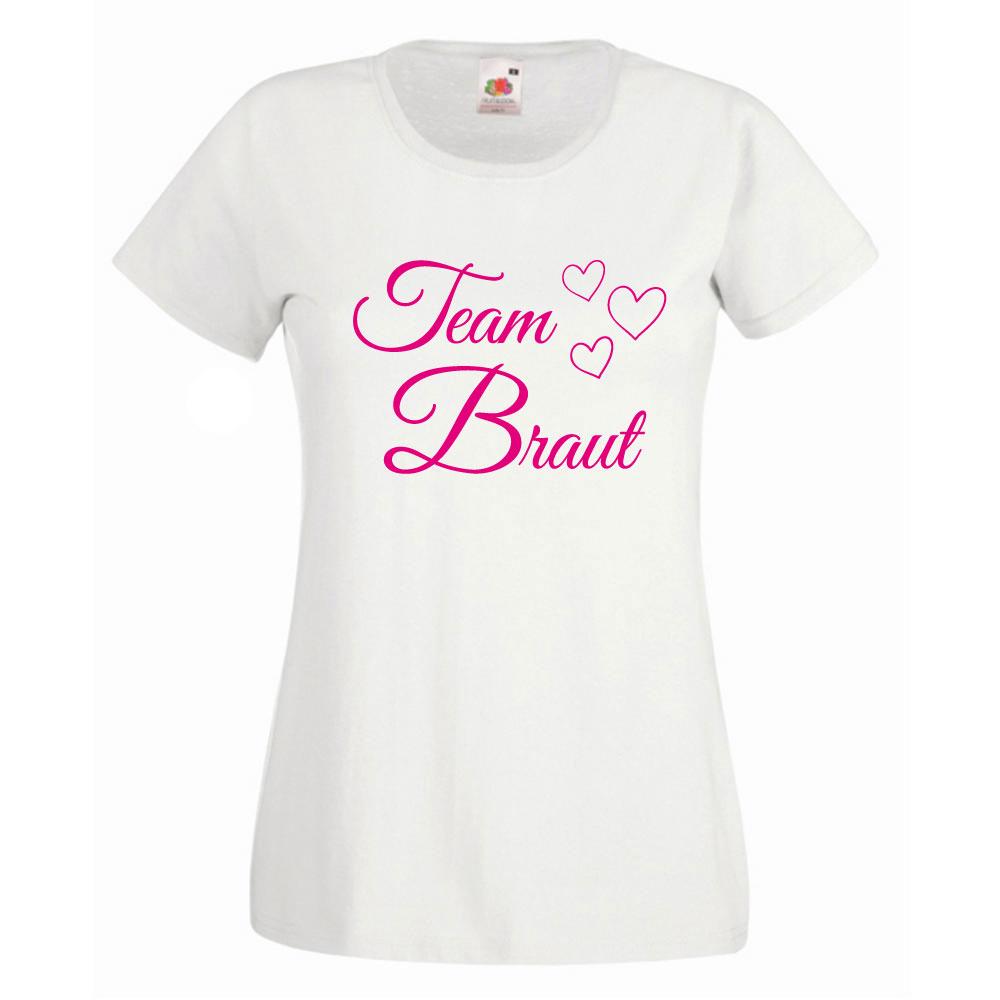 Weißes Team Braut Shirt mit Herzen für den Junggesellenabschied