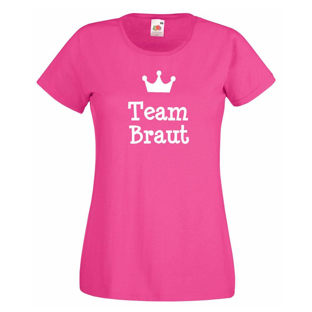 Pinkfarbenes Junggesellenabschied-T-Shirt mit Team Braut-Schriftzug und Krone